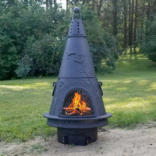 Chiminea Garden Style Cast Aluminum Wood Burning Outdoor