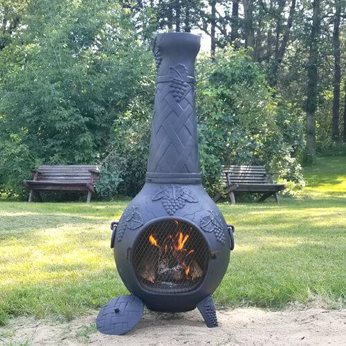 Chiminea Grape Cast Iron Outdoor Fireplace