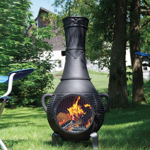 Pine Style Cast Aluminum Chiminea Outdoor Fireplace