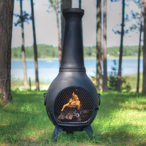 Prairie Chiminea Cast Aluminum Outdoor Fireplace