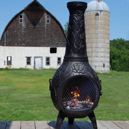 Chiminea, Rose Style Cast Aluminum Outdoor Fireplace Chimenea