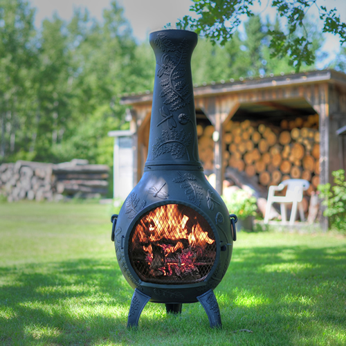 Chiminea dragonfly style cast aluminum outdoor fireplace for Outdoor fireplace spark arrestor