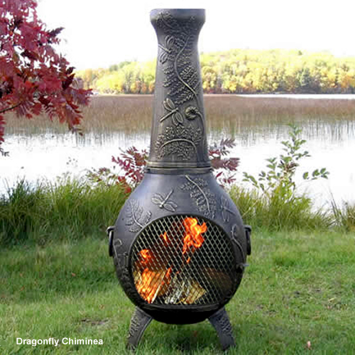 Chiminea Dragonfly Style Cast Aluminum Outdoor Fireplace Chimenea