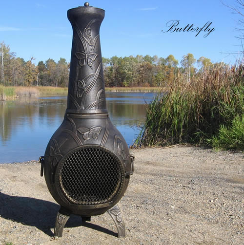 Chiminea, Butterfly, Cast Aluminum, Outdoor Fireplace