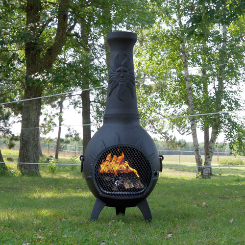 Chiminea Sun Stack Blue Rooster Cast Aluminum Outdoor