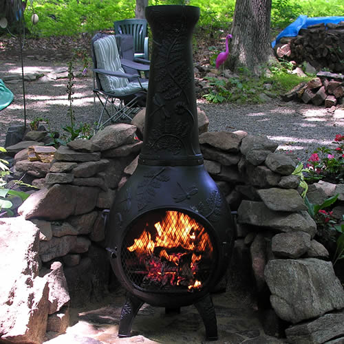 Chiminea Dragonfly Style Cast Aluminum Outdoor Fireplace
