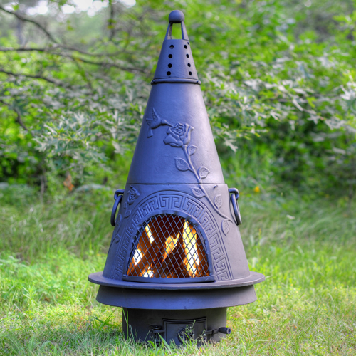 Great The Blue Rooster Garden Chiminea With Gas [ALCH009GK]