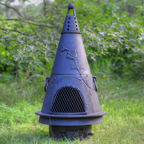 The Garden Style Cast Iron Chiminea is a highly functional design that is eye pleasing. Designed to be used as a fireplace