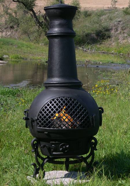 Chiminea gatsby style cast aluminum chiminea gas outdoor for Outdoor fireplace spark arrestor