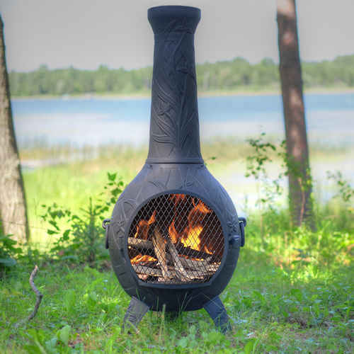 orchid style cast aluminum outdoor fireplace chiminea with