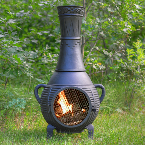 The Blue Rooster Pine Chiminea With Gas [ALCH015GK]