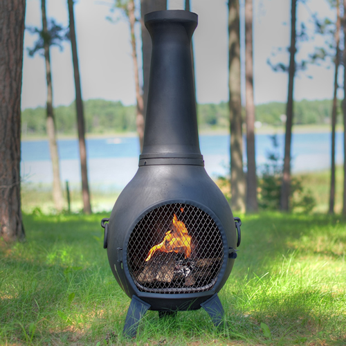 Exceptional The Blue Rooster Prairie Chiminea In Cast Iron [CH027CI]