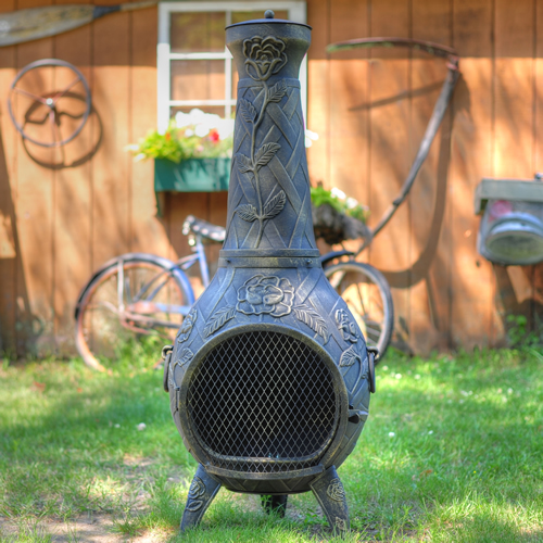 Chiminea, Rose, Cast Aluminum, Outdoor Fireplace