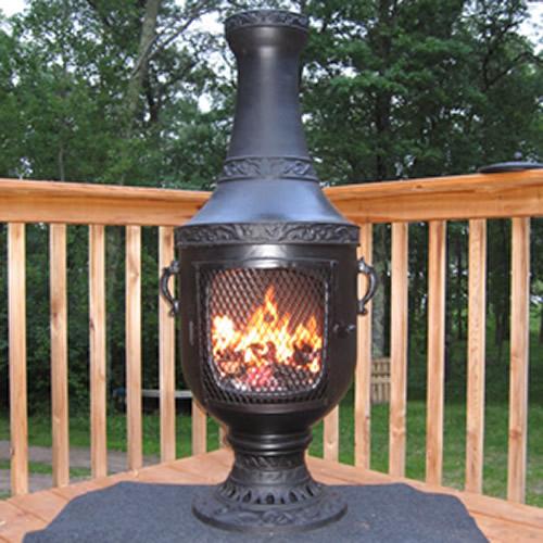 Venetian Cast Iron Outdoor Fireplace Chiminea